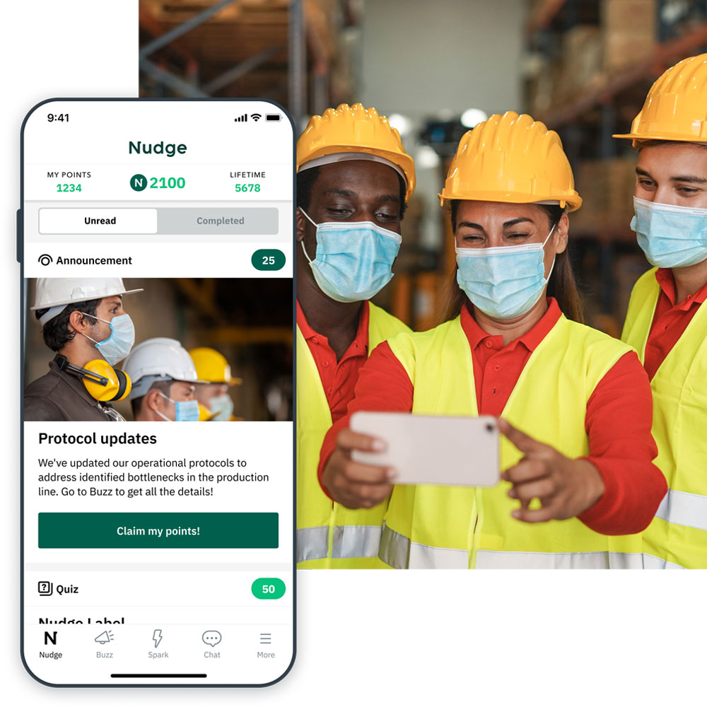 Manufacturing employees using their phones